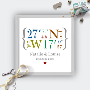 Personalised Wedding Coordinates Print-grey