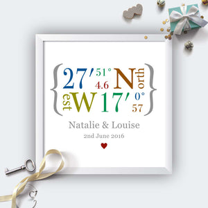 Personalised Wedding Coordinates Print-white