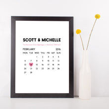 Personalised Wedding Date Calendar Print-black