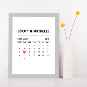 Personalised Wedding Date Calendar Print-grey