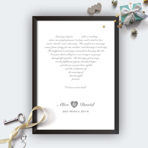 Personalised Wedding Heart Print Black