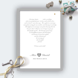 Personalised Wedding Heart Print Grey