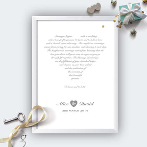 Personalised Wedding Heart Print White