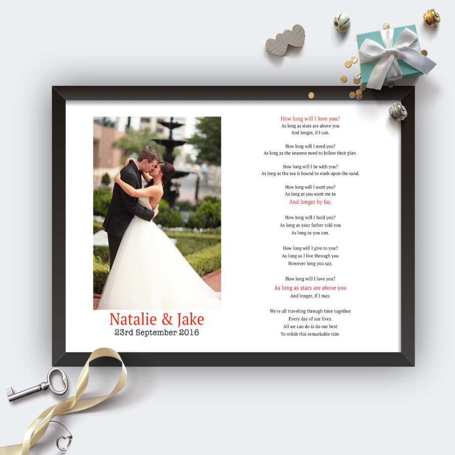 Personalised Wedding Song Lyrics And Photo Print-Black