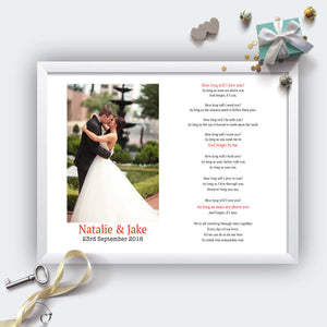 Personalised Wedding Song Lyrics And Photo Print-White