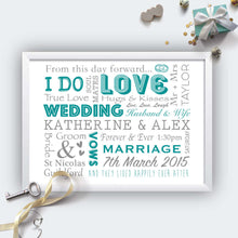 Personalised Wedding Typography Print-white