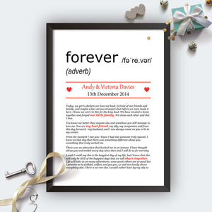 Personalised Wedding Vows Definition Print Black