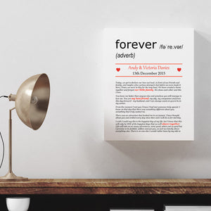 Personalised Wedding Vows Definition Print Canvas