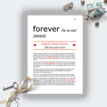Personalised Wedding Vows Definition Print Grey