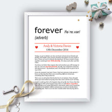 Personalised Wedding Vows Definition Print White