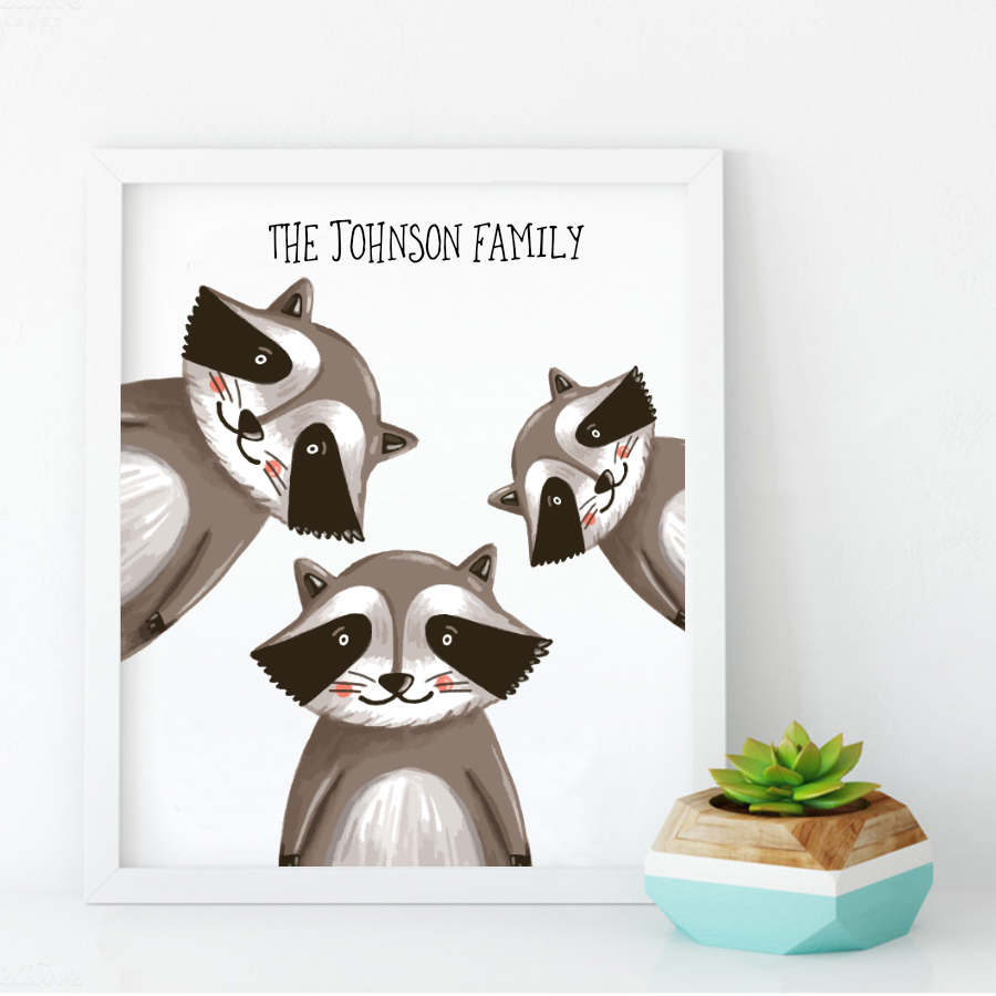 Personalised Raccoon Family Print