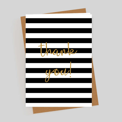 Thank You Gold Foil Stripes Card