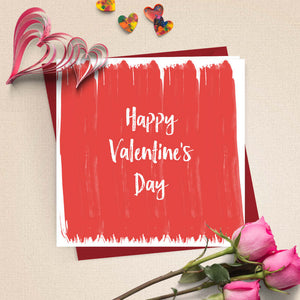 Valentine's Day Red Brush Strokes Card