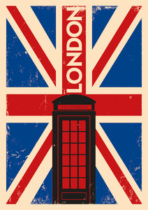 London Telephone Box Retro Canvas Print