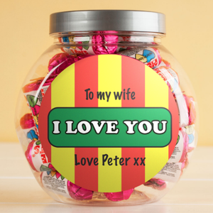 Personalised Retro Style Love Hearts Sweets Jar