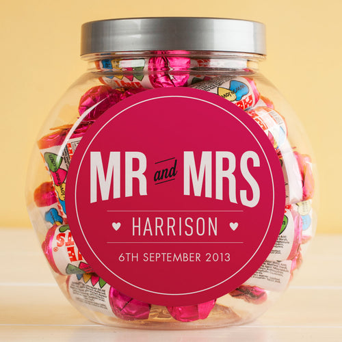 Personalised Wedding Date Couples Love Heart Sweets Jar