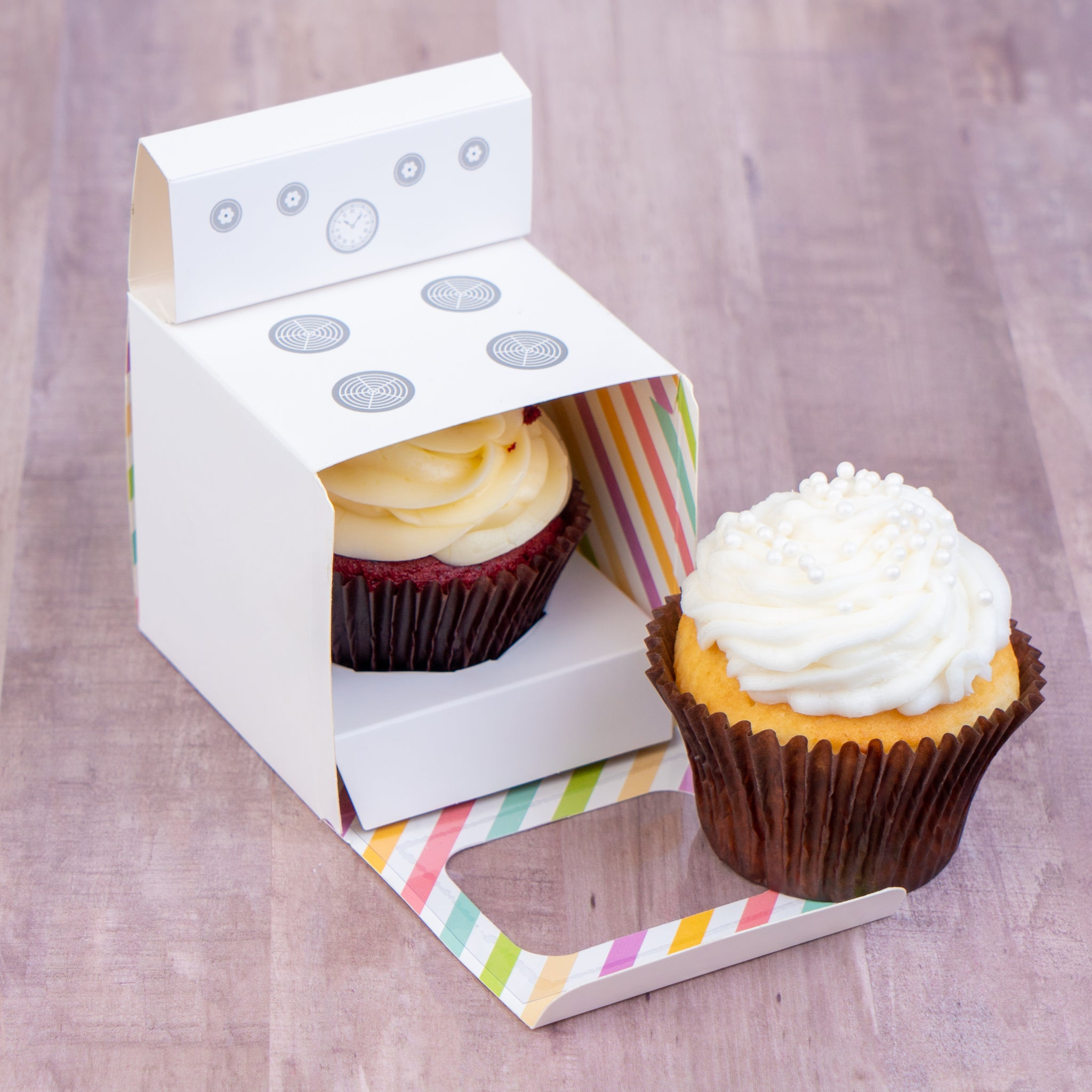 BUN IN THE OVEN Cupcake Boxes for Baby Shower, Boy Girl