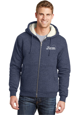 Berea Service Dept Cornerstone Heavyweight Sherpa-lined Hooded Navy Blue Fleece Jacket