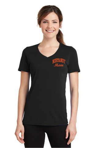 Normandy Mom Performance Blend V-Neck T-Shirt (with glittery artwork)