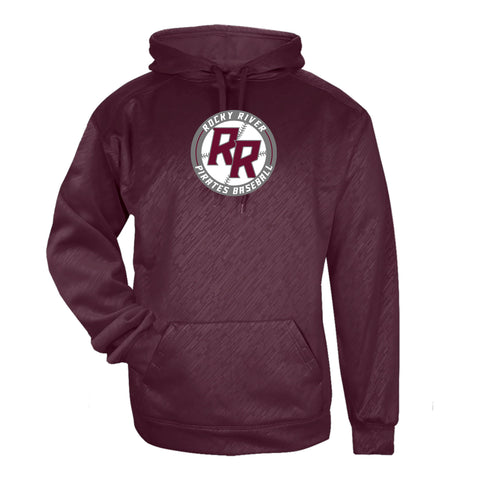 Rocky River Baseball Badger Line Embossed Hooded Sweatshirt (Maroon & Silver)