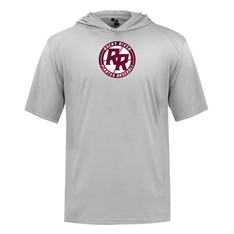 Rocky River Baseball B-Core Dry Fit Hooded Short Sleeve Tee (Maroon & Silver)