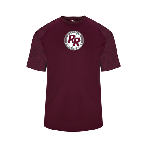 Rocky River Baseball Badger Tonal Blend Panel Dry Fit Tee (Maroon & Silver)