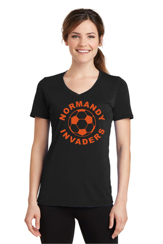 Normandy Soccer Ladies Performance Blend V-Neck T-Shirt (with glittery artwork)