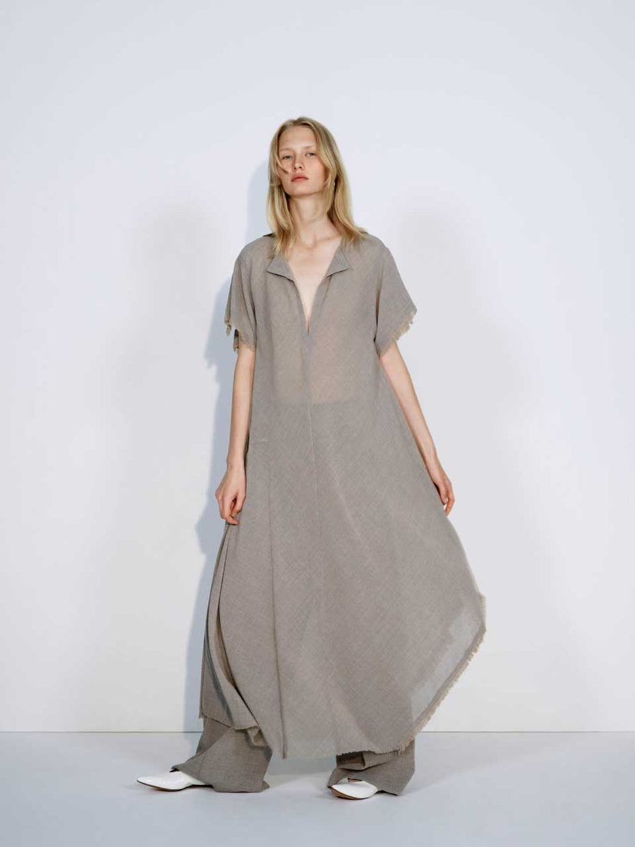 LONG ASYMMETRY DRESS WITH FRINGE
