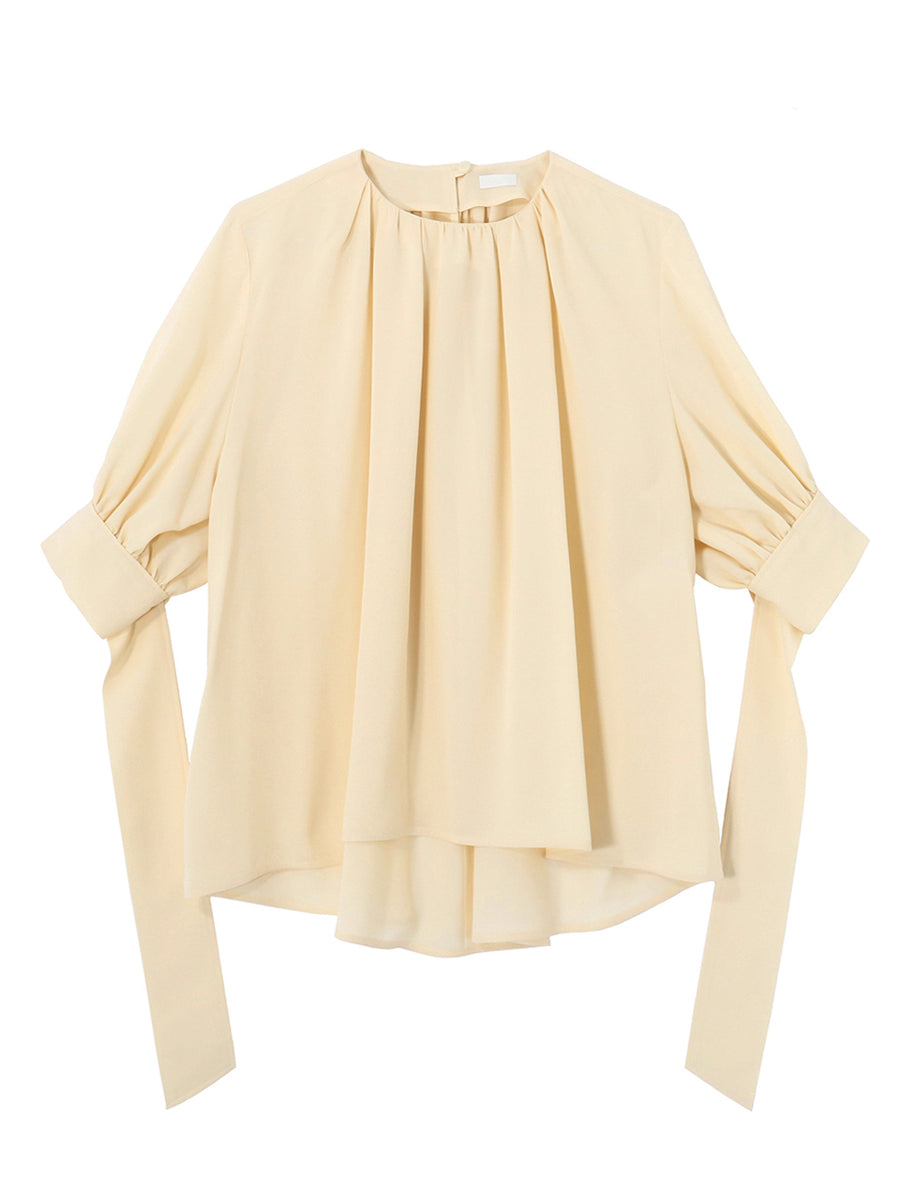 GATHER WIDE BLOUSE WITH LONG RIBBON