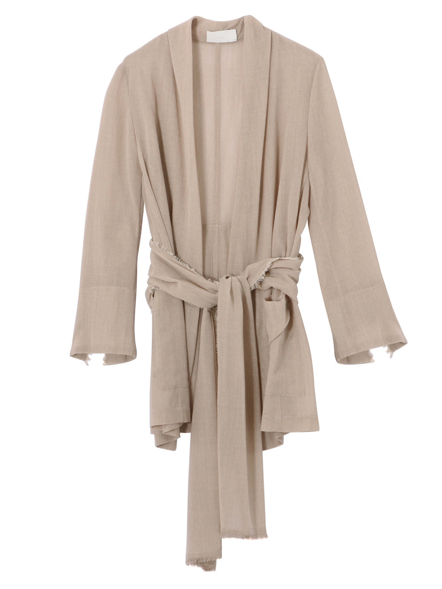 DRAPE JACKET WITH FRINGE BELT