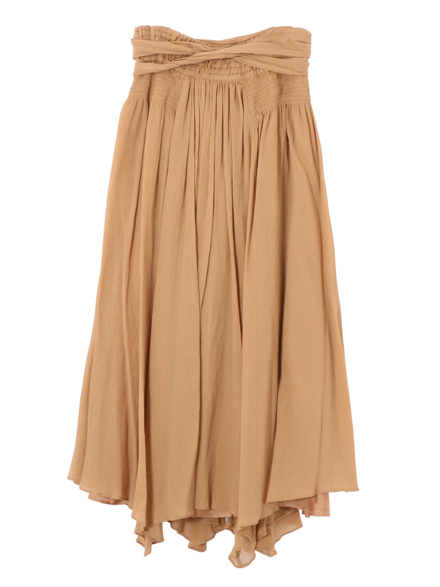 COTTON CREPE LONG SKIRT WITH BELT
