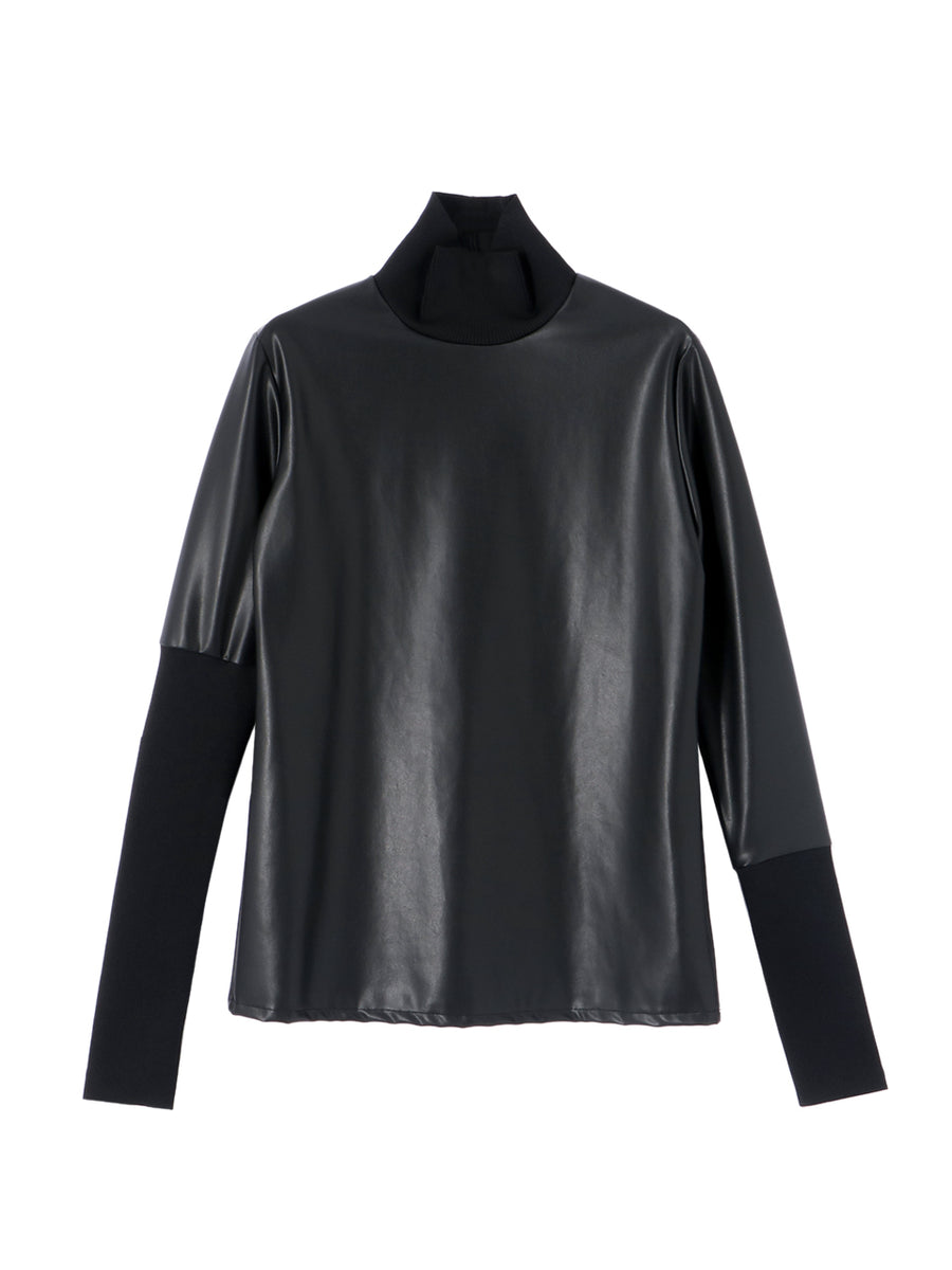 ECO LEATHER HIGH NECK TOP