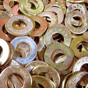 "3/8"" F436 Type 1 Round Structural Flat Washer Thru- Hard Yellow Zinc Plated"