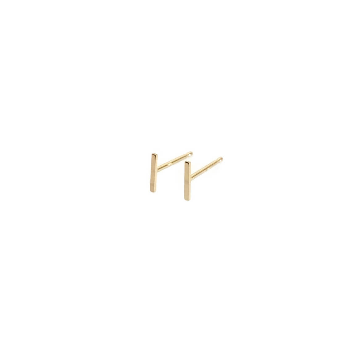 14k solid gold bar earrings are dainty and made of real 14k gold.  It's a gold bar stud earrings that come in pair for pierced ears.