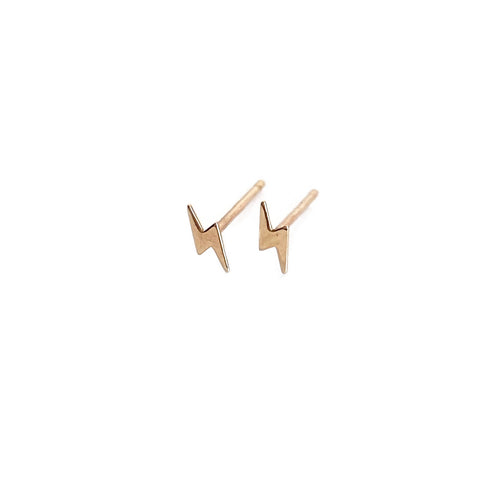 14k Gold Tiny Lightening Bolt Stud Earrings