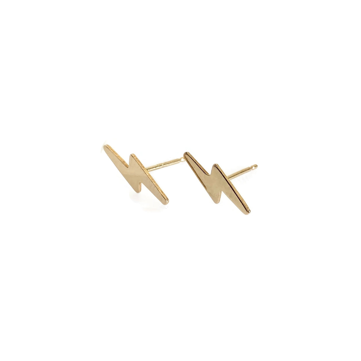 14k Lightening Bolt Stud Earrings