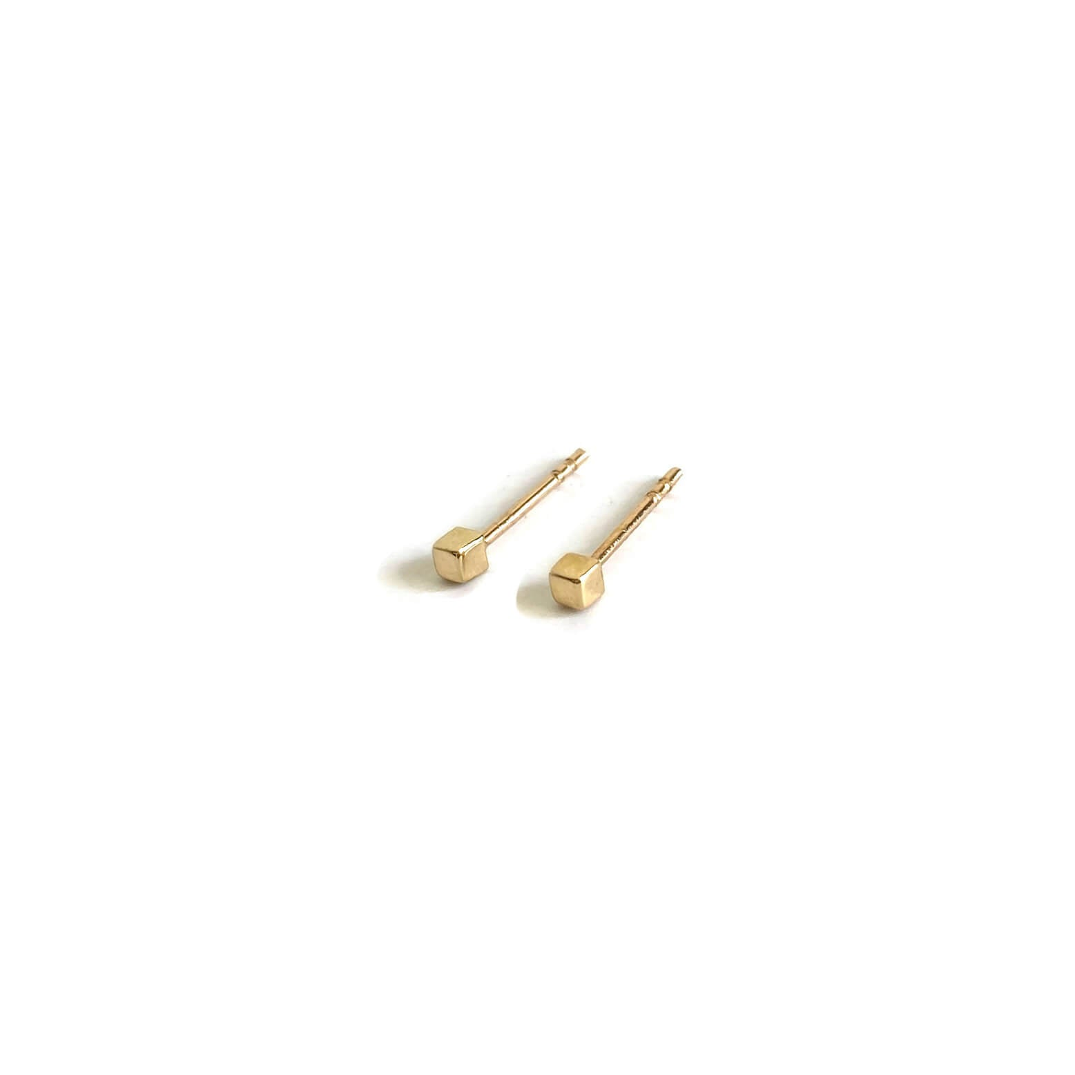 14k cube stud earrings are made of solid 14k gold and 14k ear posts