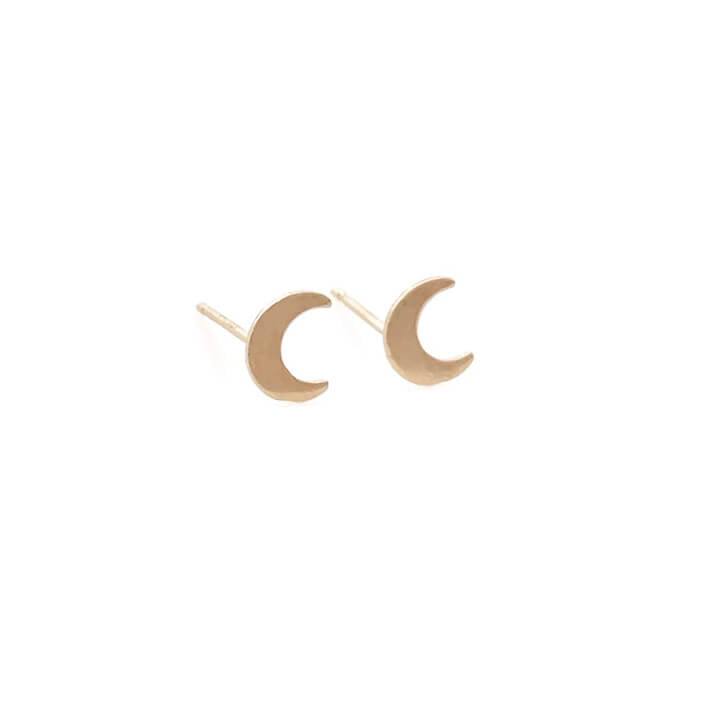 Gold crescent moon stud earrings are made of 14k gold moons and 14k gold ear posts. These are stud earrings for earlobe.