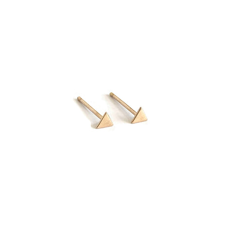 14k tiny triangle stud earrings are jewelry made in san francisco