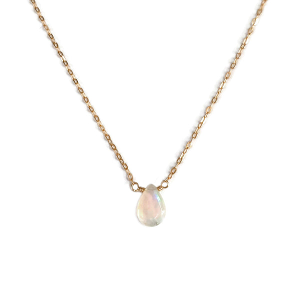 Small opal necklace is made of a single Ethiopian opal and gold filled dainty chain.