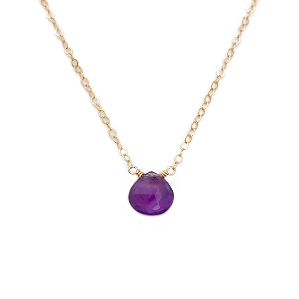 Dainty Amethyst necklace is made of real amethyst and 14k solid gold.  This Amethyst stone necklace can also be made in sterling silver or gold filled chain.