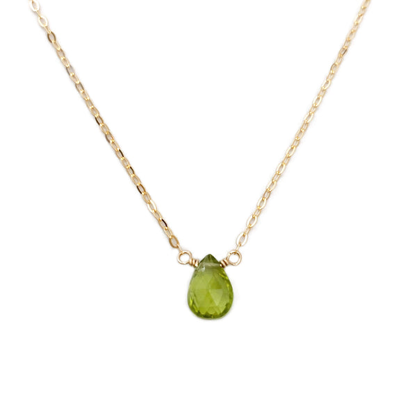 The gold peridot necklace is perfect for anyone with an August birthday.