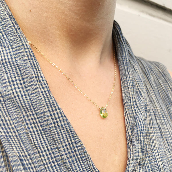 Dainty peridot necklace is made of genuine peridot and 14k gold chain. It can also be made in sterling silver or gold filled chain.