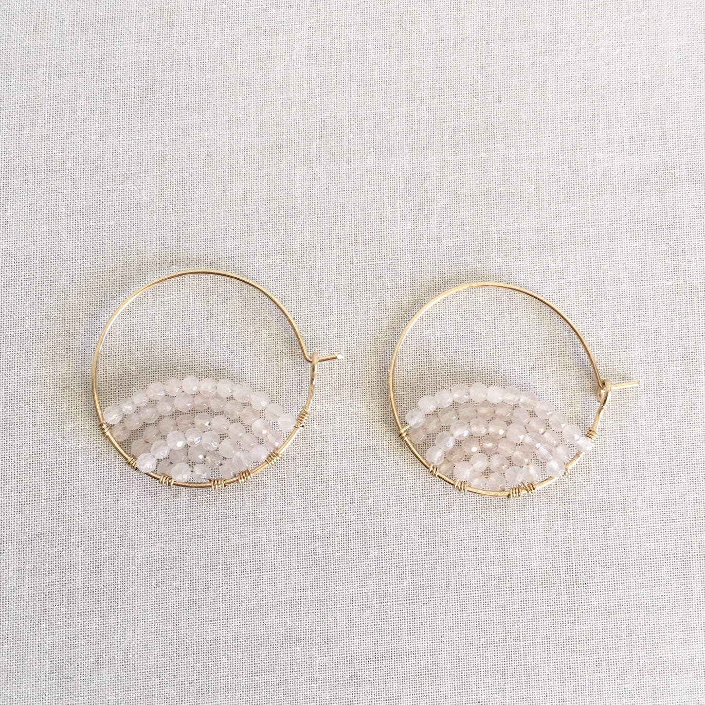 Rose Quartz Sunrise Hoop Earrings