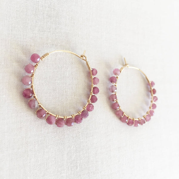This tourmaline hoop earrings are handmade in San Francisco.