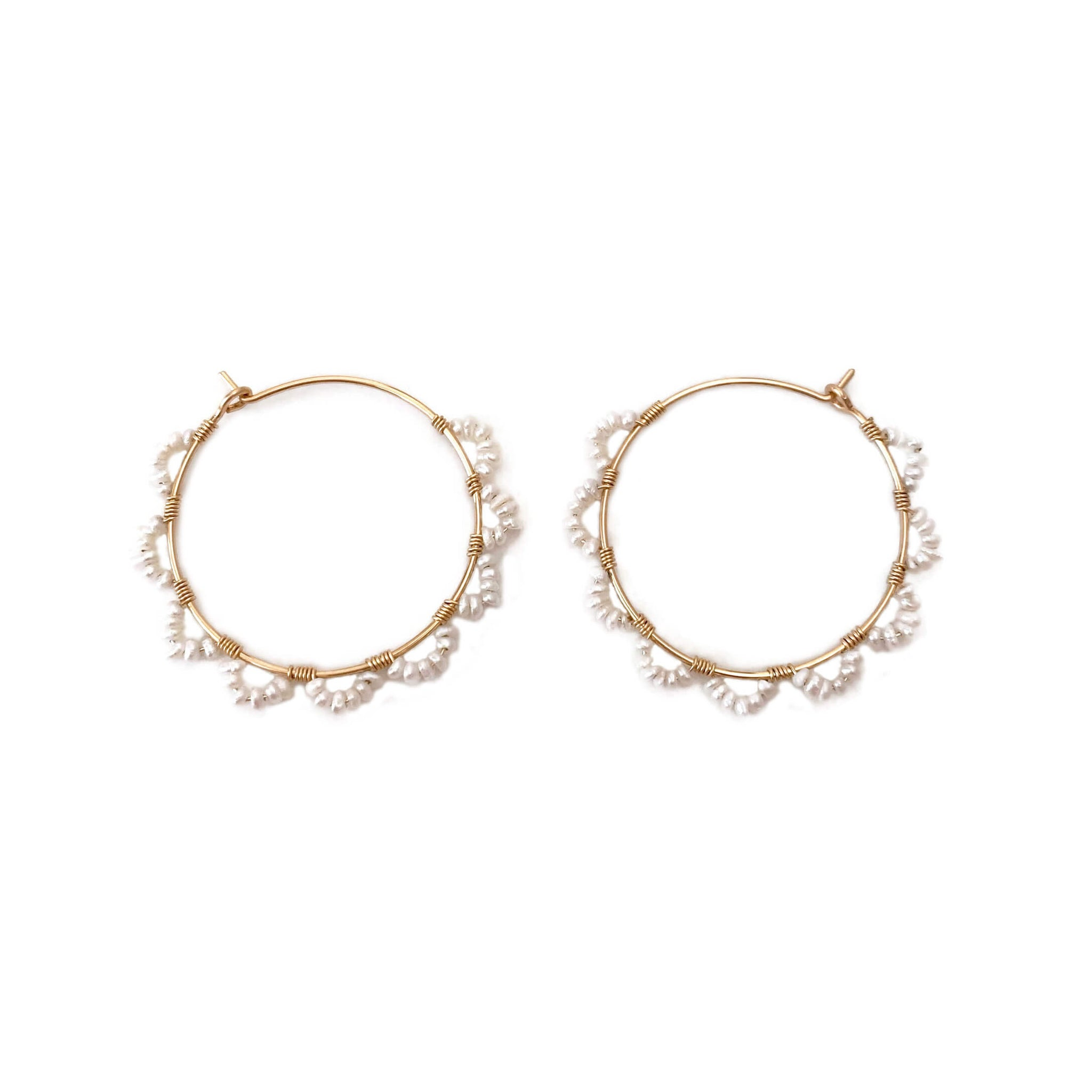 there are a pair of pearl hoop earrings.  They are made of real fresh water pearl and gold filled wire.  They look like petal flower hoops.