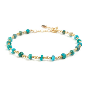 Dainty simple turquoise bracelet is December birthstone bracelet