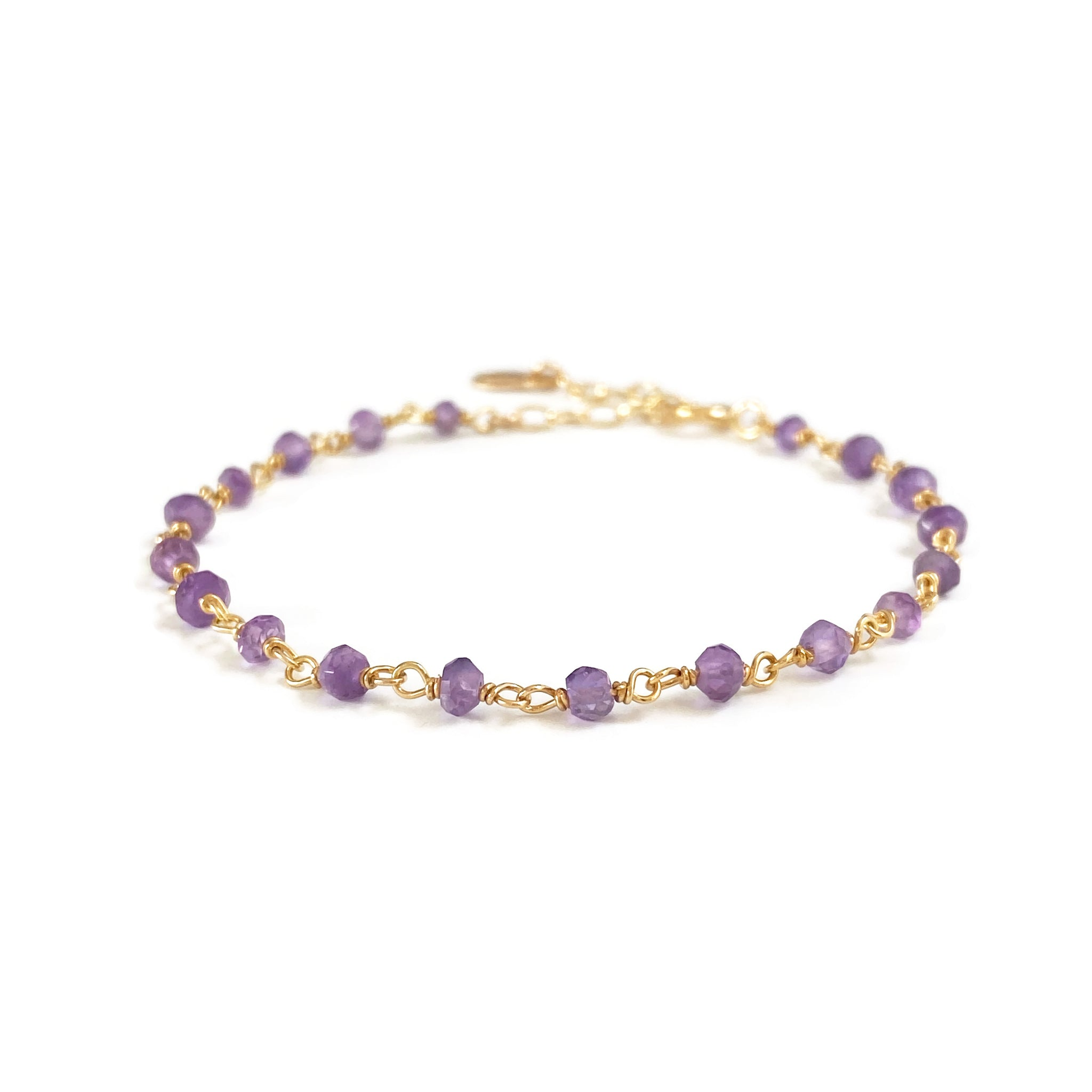This cute amethyst bracelet is February birthstone bracelet