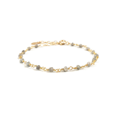 dainty rough diamond bracelet is April birthstone bracelet