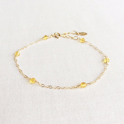 14k dainty citrine gold bracelet with adjustable chain in 14k or gold filled